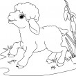 Easter lamb. Coloring page — Stock Vector