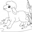 Easter lamb. Coloring page — Stock Vector #5248780