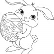 Stock Vector: Easter bunny. Coloring page