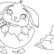 Easter bunny surprise. Coloring page — Stock Vector