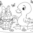 Easter duckling. Coloring page — Stock Vector