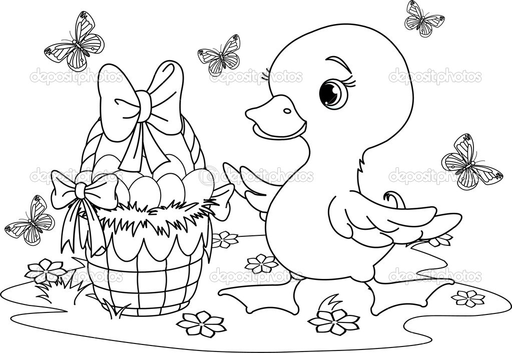 Patos Para Colorear Para Para Con Para Vector Stock Sin: Patito De Pascua. Página Para Colorear