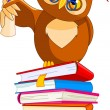 Постер, плакат: Cartoon Wise Owl with graduation cap and diploma