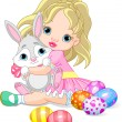 Little girl and Easter bunny — Stock Vector