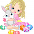 Little girl and Easter bunny — Stock Vector #5275687