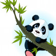 Giant panda climbing tree - Stock Vector