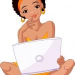 junge afrikanische Frau sitzend auf Kissen mit laptop — Stockvektor