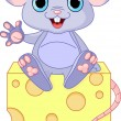 Mouse  on cheese - Stock Vector