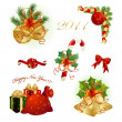 Set of Christmas design elements - Stok Vektör