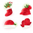 Christmas set 4 (santa's hat, boot, mittens, bag). — Stock Vector