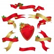 Set red banners with holly for christmas decoration. — 图库矢量图片