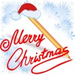 Merry Christmas, written in red ink - Stock Vector