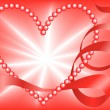 Red Pearl Heart - Stock Vector