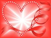 Rood parel hart — Stockvector