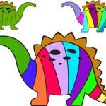 Striped dinosaurs — Stock Vector
