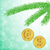 Christmas tree branch with coins — Stock Vector
