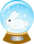 Glass bowl with a rabbit — Stock Vector