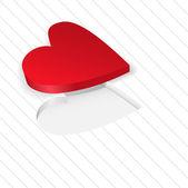 Bir beyaz üzerine kırmızı kalp — Stok Vektör