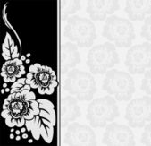 Gray flowers on a black and white background — Stock Vector
