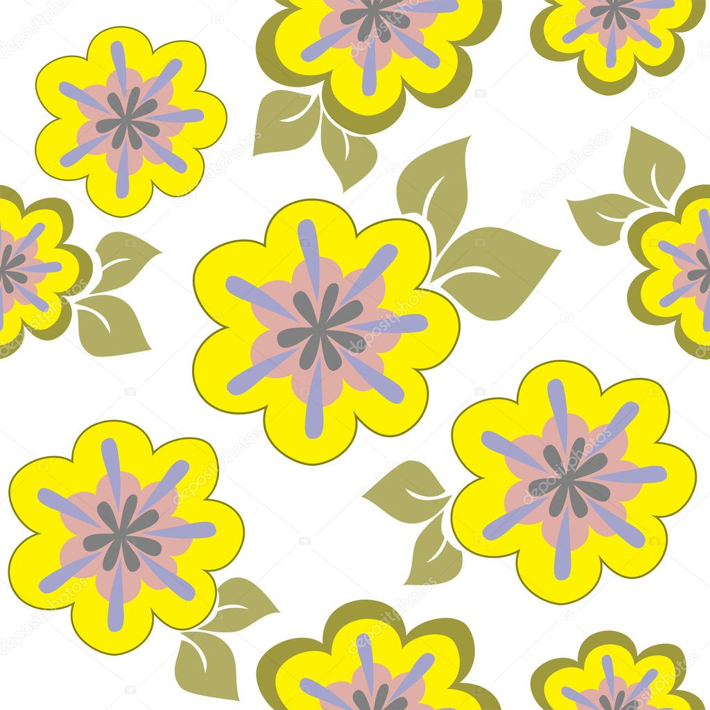 Seamless pattern of yellow flowers chaotically placed on a white background — Stock Vector #4901320