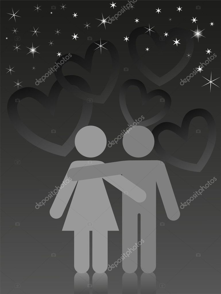 Two lovers are embracing under a starry sky — Stock Vector #4901349