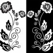 Black and white flower — Vettoriali Stock
