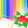 Two hearts on rainbow background — Stock Vector