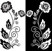 Black and white flower — Stock Vector