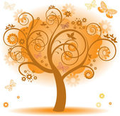 Tree with orange leaves — Stock Vector