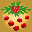 Pine branch with red balls — Vector de stock