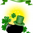 Stock Vector: Pot of gold and hat