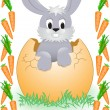 Stock Vector: Easter Bunny in carrot frame