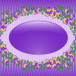 Oval frame with violets — Stock Vector