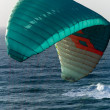 Blue wing of paraglader — Stock Photo
