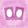 Greeting Card to holiday with frames on the pink background — Stock Photo