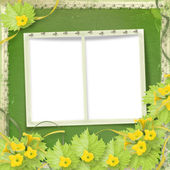 Grunge paper frames with flowers pumpkins and ribbons — Stock Photo