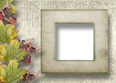 Grunge papers design in scrapbooking style with frame and foliag — Stock Photo