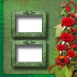 Card for congratulation or invitation with red roses and frame — Stock Photo