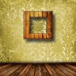 Old grunge room with wooden picture frames in Victorian style — Stock Photo