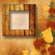 Grunge papers design in scrapbooking style with frame and autumn — Stock Photo