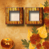 Grunge papers design in scrapbooking style with pumpkin — Stock Photo