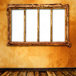 Old window on the antique wall with metal nail — Stok fotoğraf