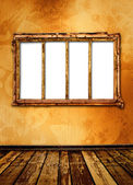 Old window on the antique wall with metal nail — Stock Photo