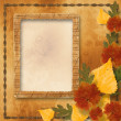 Grunge papers design in scrapbooking style with autumn foliage — Стоковая фотография