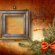 Royalty-Free Stock Photo: Festive invitation or greeting with firtree and bow