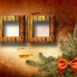 Festive invitation or greeting with firtree and bow - Foto Stock