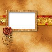 Ilustracja dokumentów projektu w stylu scrapbookingu z różą — Zdjęcie stockowe