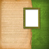 Grunge wooden frames on the abstract musical background — Stock Photo