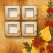 Grunge papers design in scrapbooking style with frame and autumn — Stock Photo #4090871