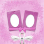 cartão para casamento com quadros sobre o fundo rosa — Foto Stock